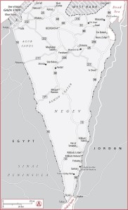Negev Map, Yahel Volunteering in Israel