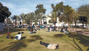 Levinsky Park in Tel Aviv many immigrants and refugees gather.