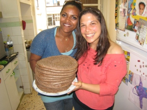 Bat El and I with a batch of cooked injera